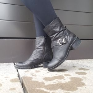 lord & taylor leather combat booties